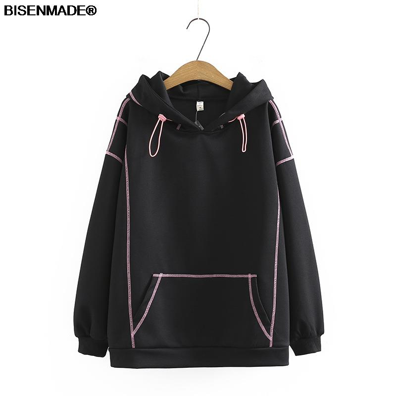 Autumn Winter Women Sweatshirts Plus Size&Curve Clothes 2021 Hoodies New Casual Loose Bright Line Decoration Hooded Tops