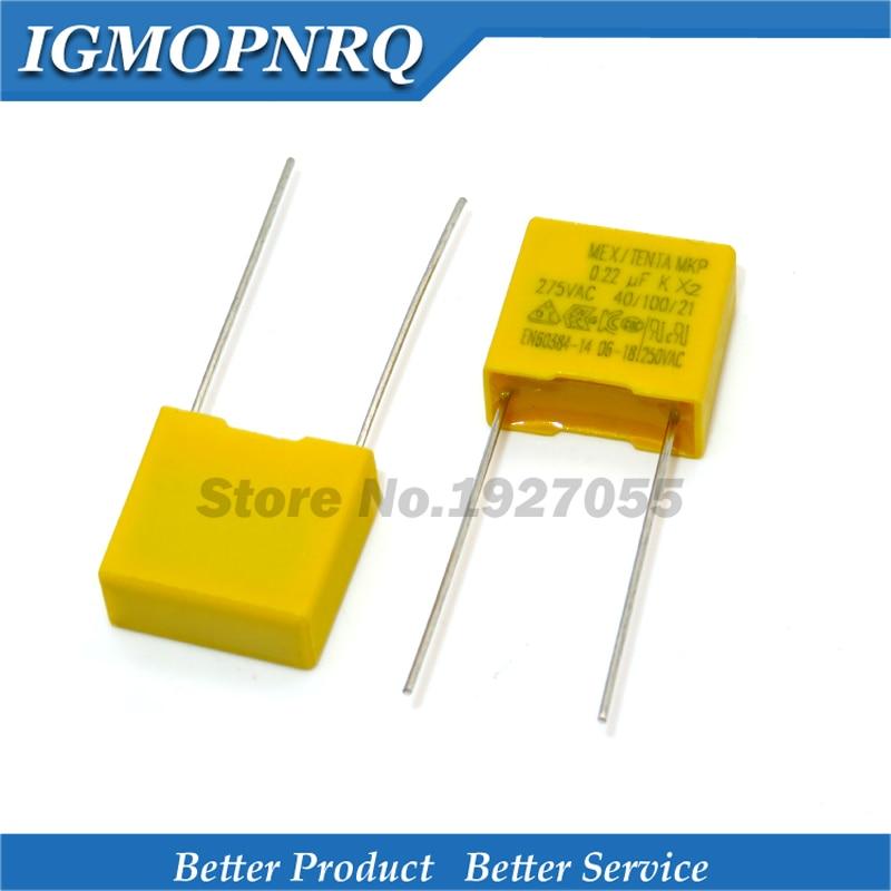 10 pces capacitor 220nf 275vac 220nf passo 15mm x2 filme de polipropileno capacitor 0.22 uf