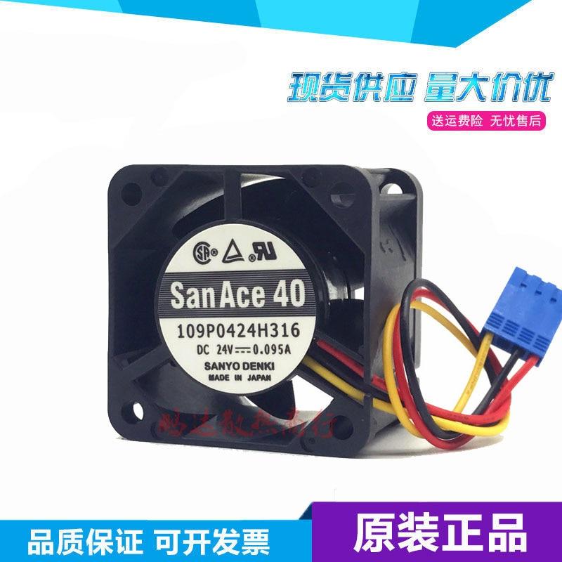 Original 109P0424H316 4028 24V 0.095A 4CM 3-wire detection inverter fan