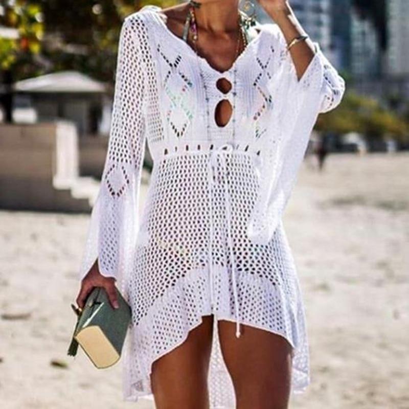 2020 Beach Cover Up Crochet Knitted Tassel Tie Beachwear Tunic Long Pareos Summer Swimsuit Cover Up Sexy See-through Beach Dress