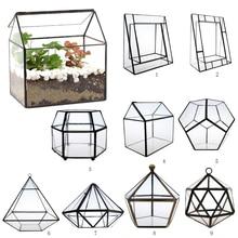 Terrario geométrico de vidrio Irregular caja de mesa suculenta planta de aire helecho musgo maceta