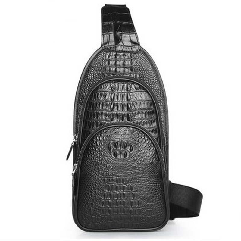meixigelei crocodile skin men chest bag men business men bag  travel men bag single shoulder bag