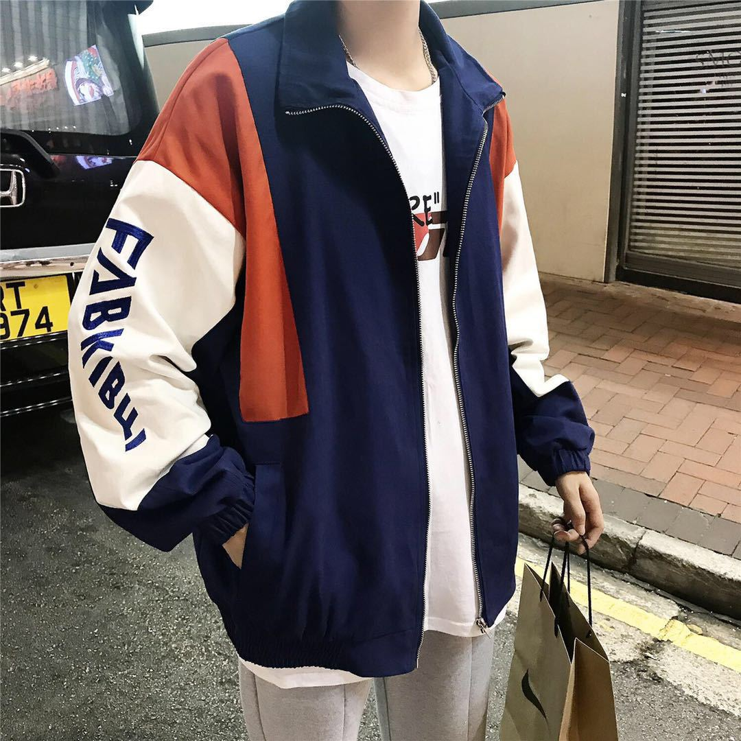 Hip Hop Spring Jackets Men Windbreaker Patchwork Autumn Loose Casual Jacket Couple Thin Jacket Loose Large Size Zipper Coat