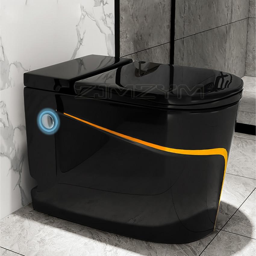 المراحيض المنزلية بدون خزانات مياه تصميم مزدوج دافق S-فخ غطاء عازل مراحيض توفير المياه المرحاض شخصية سوداء