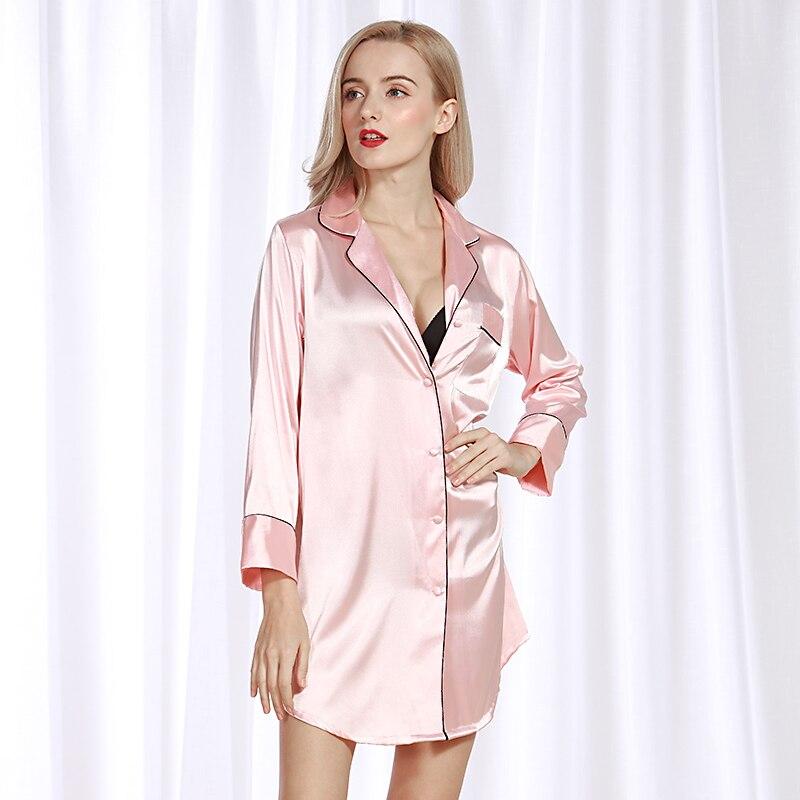 الصيف تقليد قميص حريري المرأة منامة خدمة المنزل مثير السيدات نوم الخامس الرقبة رومانسية الوردي