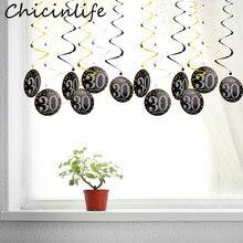 Chicinlife-guirlande de joyeux anniversaire   Ornements en spirale, 30 40 50 60 ans, 6 pièces, fournitures pour fête danniversaire
