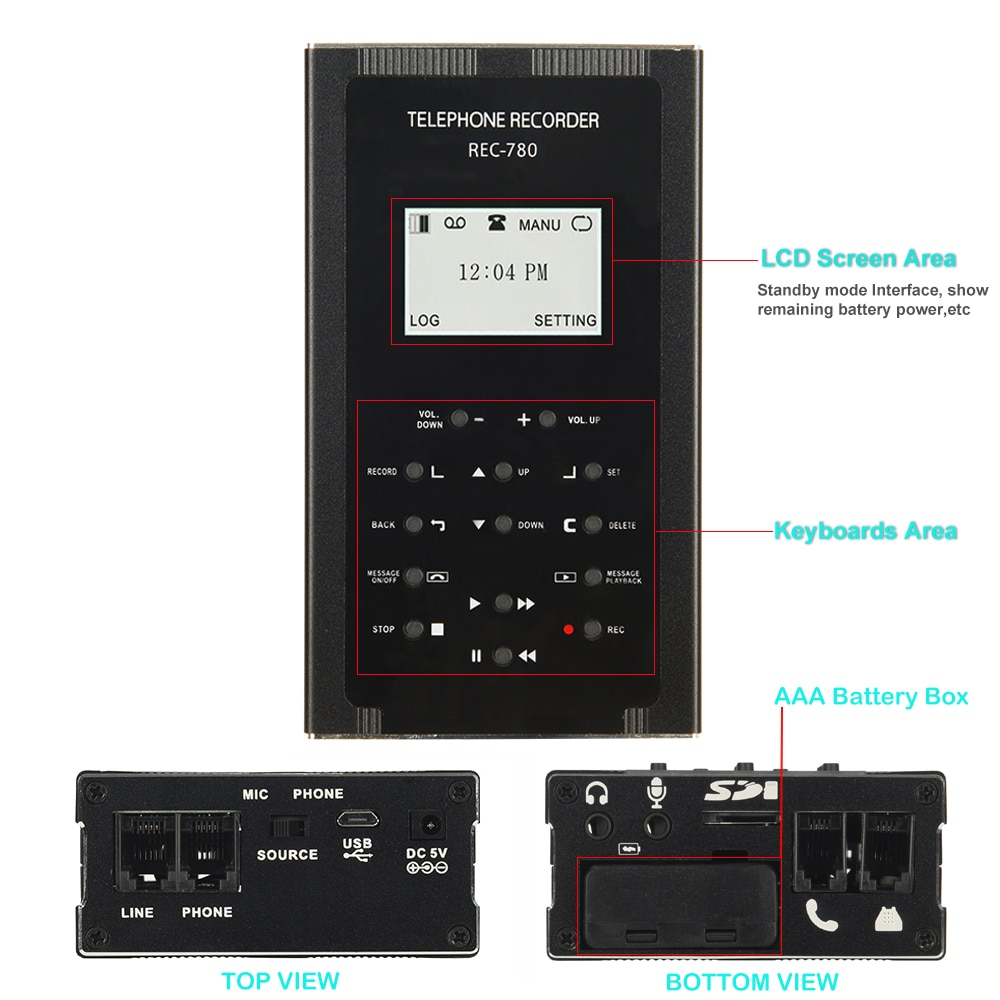 Digital Analog Telephone Call History Recorder Phone Calls Set Recording Automatically Landline Voice Recorder with Led Screen enlarge