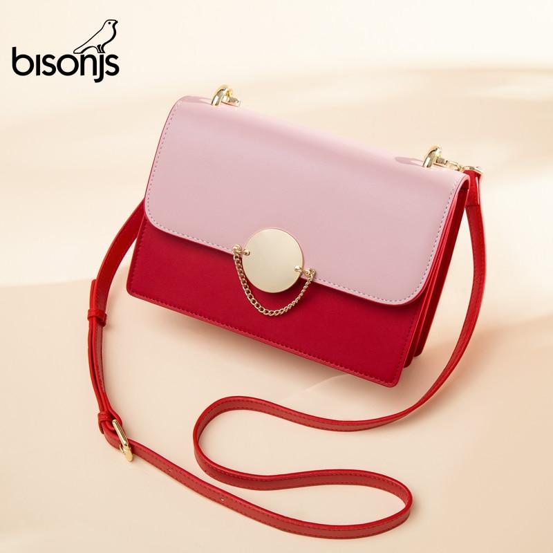 BISONJS, bolsos cruzados de moda para mujer, bolso de hombro femenino de cuero auténtico con cierre, bolso de mano con solapa, bolso de mano B1765