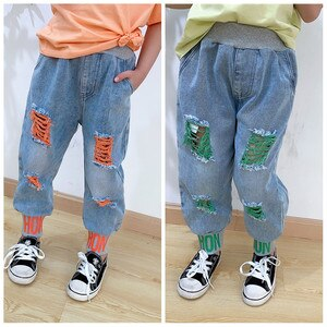 Toddler Girls Jeans Fashion Ripped Casual Jeans for Girl Casual Letters Baby Kids Denim Pants 2 3 4 5 6 7 Years Children Pants