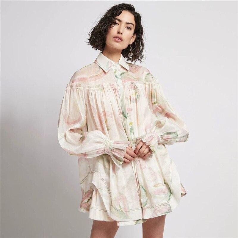 صيف جديد السيدات موضة أنيقة التلبيب فانوس كم فستان مجموعة 2021 المرأة عالية الخصر المطبوعة قصيرة مطوي تنورة مجموعة فستان