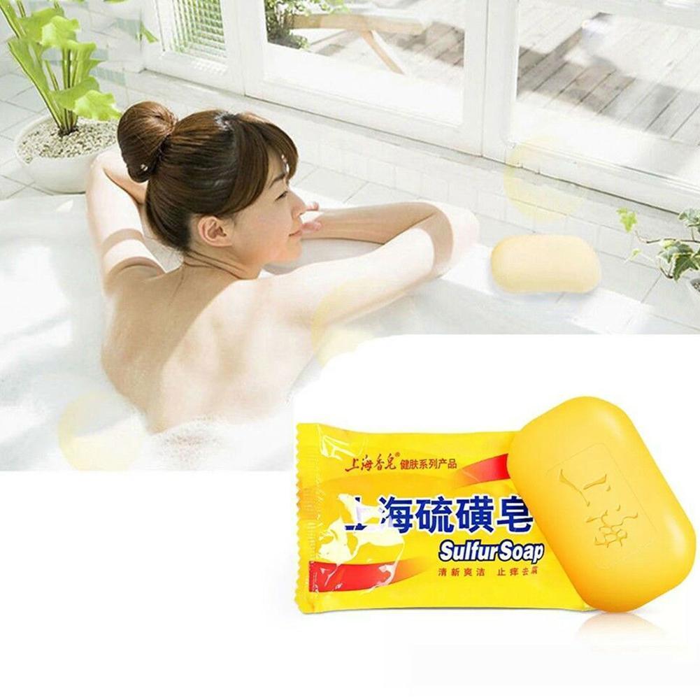 Jabón azufre Shangai de 85g, tratamiento de control de aceite para el acné, jabón antiespinillas tradicional para el cuidado de la piel, eliminador de hongos, jabón chino U9B0
