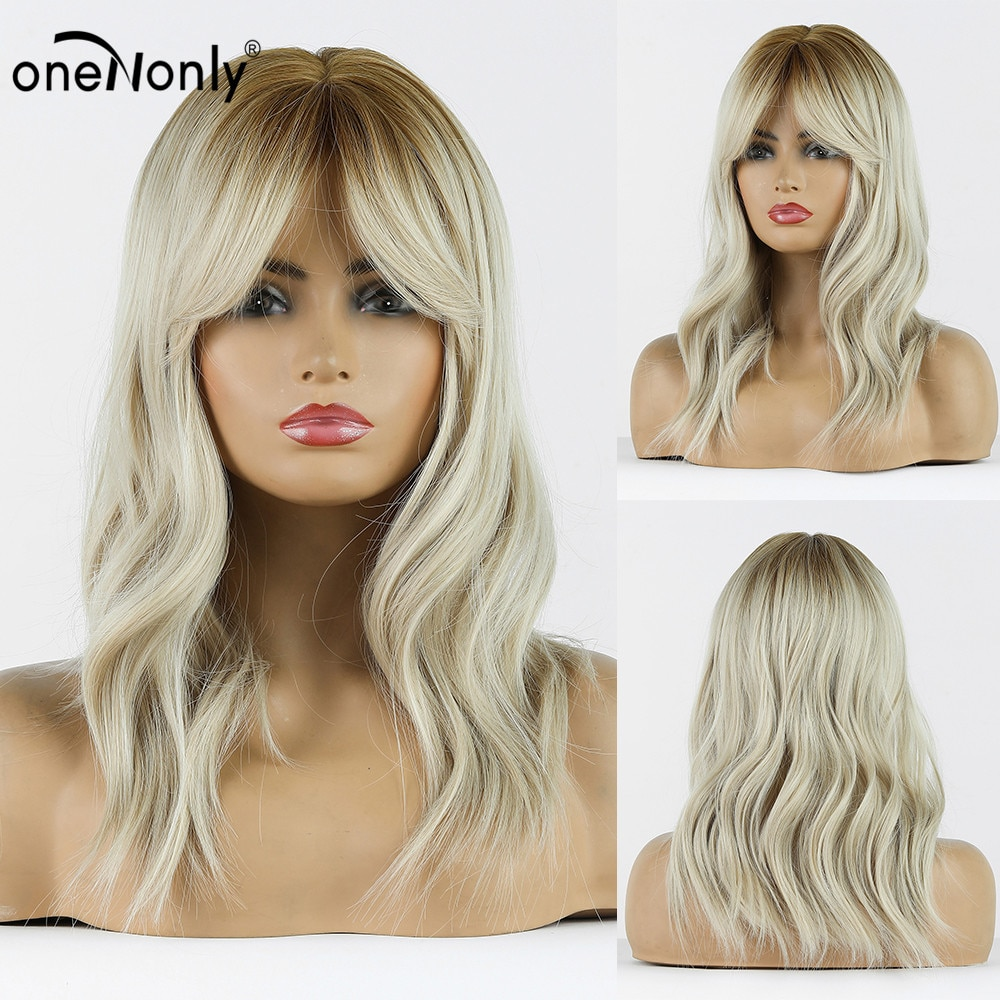 onenonly comprimento medio natural onda ombre loira clara perucas sinteticas com