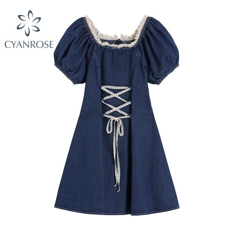Blue Denim Dress Women Puff Sleeve France Vintage High Waist Drawstring Lace-up Mori Girl Jean Frocks Summer Y2K Dress Vestidos