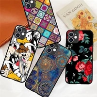 flower luxury cartoon rabbit wolf dog phone case for iphone 12 mini 5 6 6s 7 8 se plus x xs xr 11 pro max coque silicone cover