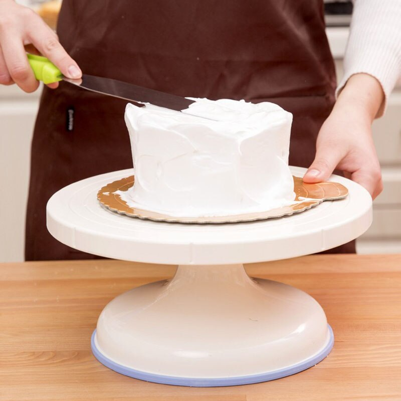Bandeja giratoria de plástico para Tartas, soporte para decoración de pasteles antideslizante, espátula para Tartas, herramienta de cocina para hornear DIY