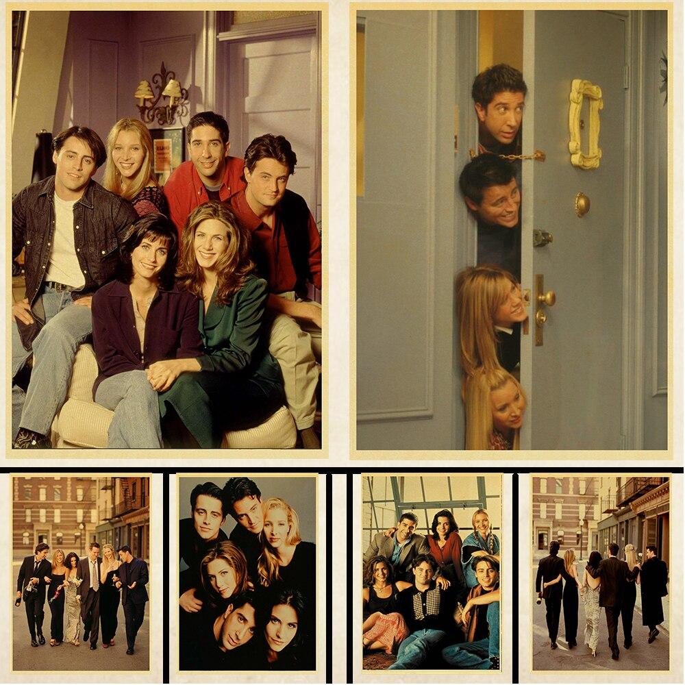Serie de Televisión Friends película de Drama americana Vintage póster para decoración de habitación pintura café Hotel papel tapiz decoración Póster