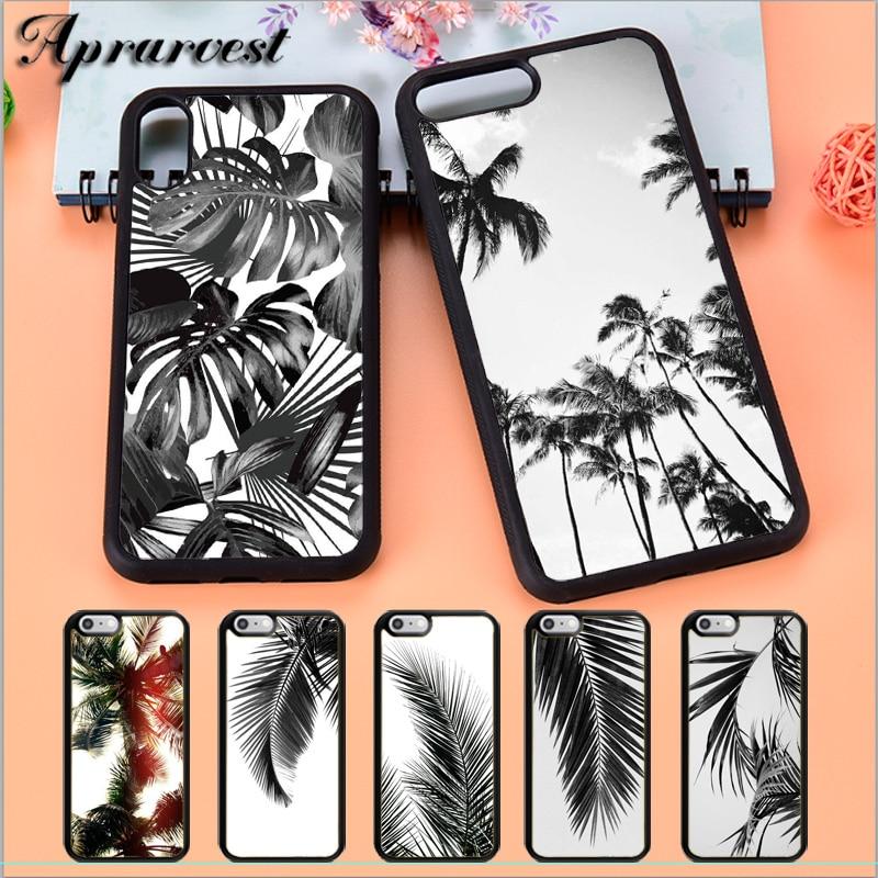 Aprarvest negro blanco de árbol de palma Tropical caja del teléfono funda para iPhone 5 y 5s SE 6 6S 7 8 PLUS X XS X XR MAX 11 PRO