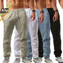KB 2021New גברים של כותנה פשתן מכנסיים זכר סתיו חדש לנשימה מוצק צבע פשתן מכנסיים כושר Streetwear S-3XL