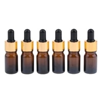 6 pieces amber glass bottles for essential oils with pipette for