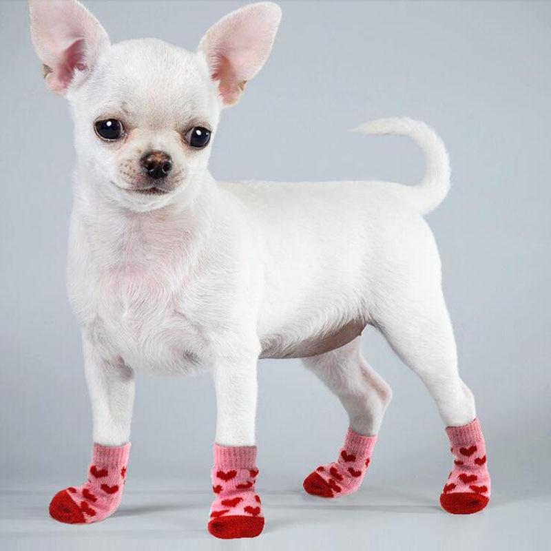 4 pcs 따뜻한 강아지 양말, 부드러운 애완 동물 니트 양말 귀여운 만화 미끄럼 방지 양말, 따뜻한 강아지 강아지 신발 작은 중형 개 애완 동물 제품
