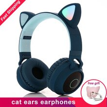 Auricular iluminado con orejas de gato, auricular estéreo inalámbrico con Bluetooth con micrófono, regalo de Navidad para auriculares de cabeza de niños adultos