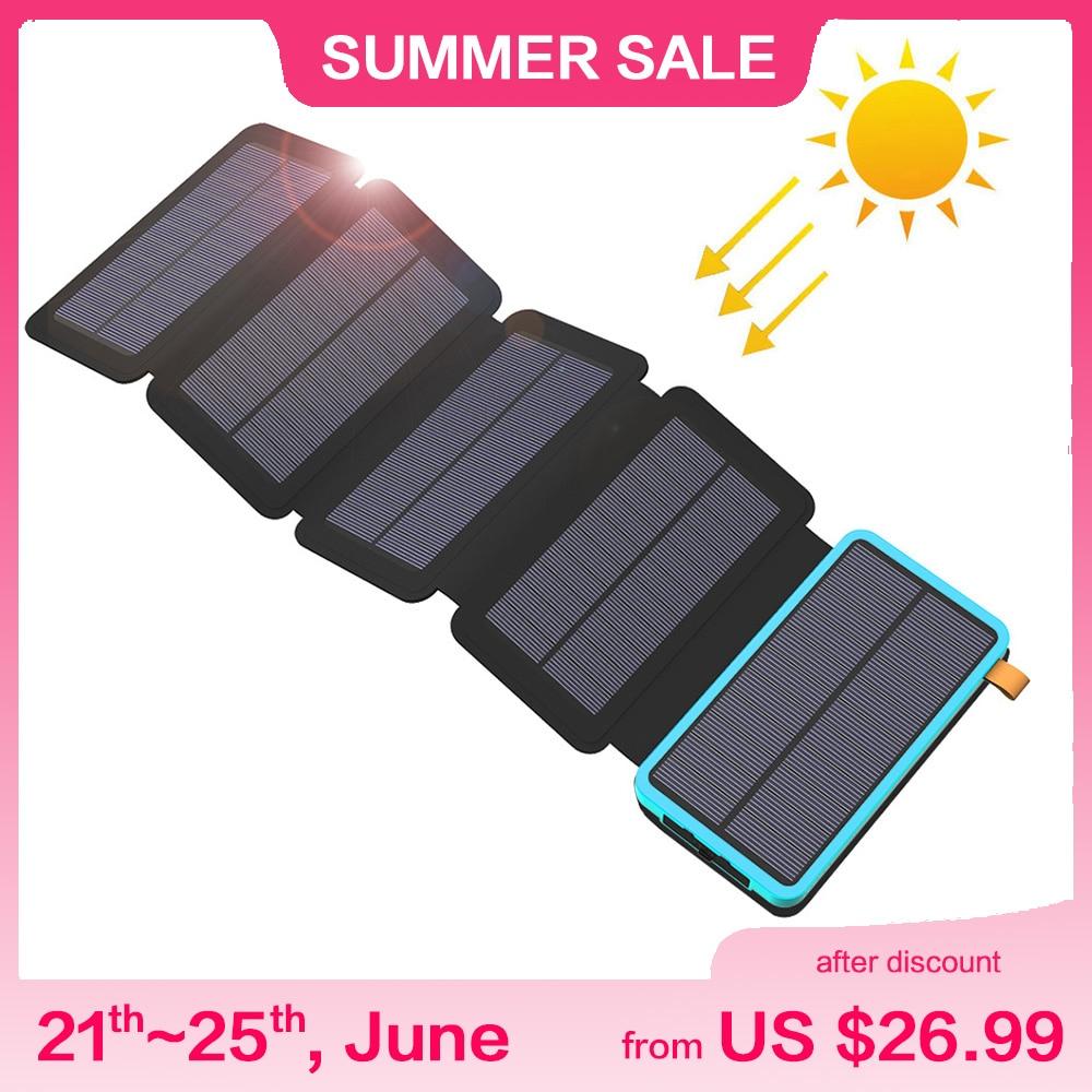 25000mAh 24000mAh 20000mAh 10000mAh Solar Power Bank Solar Battery Charger for iPhone iPad Samsung Huawei Xiaomi LG Sony OnePlus