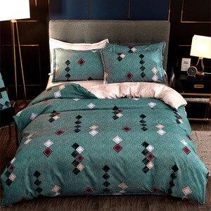 Blue Square Comforter Bedding Set 4pcs Bed Linen Set Duvet Cover Set Quilt Cover Bed Clothes PillowCase Home Decor Textile