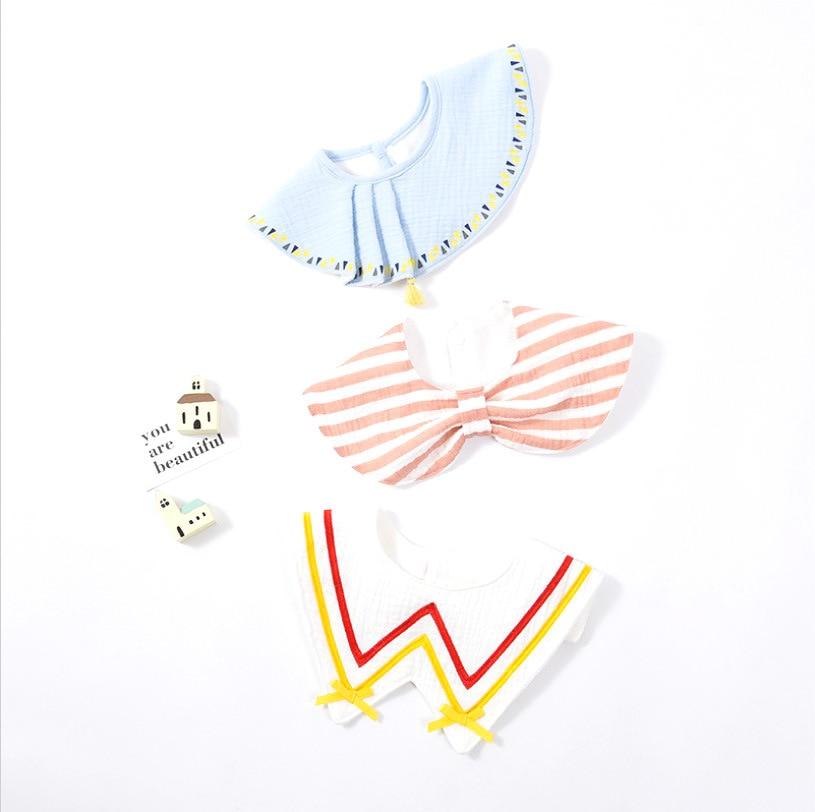 3Pcs Set INS Infant Baby Bib Cotton Towel Kids Princess Fake Collar Burp Cloths Child Shawl Embroidery Newborn Gift