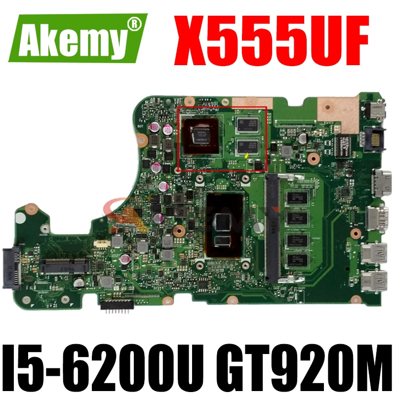 X555UF 4G / I5-6200U GT920M لـ Asus X555UQ X555UF X555UJ X555UB Mianboard Motherboard 90NB0AX0-R01100