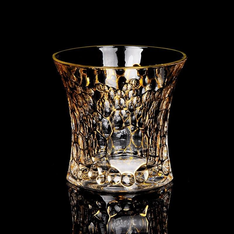كوب ويسكي الطراز القديم تتبع الذهبي كريستال أكواب الشرب Chivas كأس النبيذ بار Vasos دي كريستال فيري فين فيدرو بهلوان
