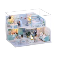 wooden block dollhouse kits diy miniature doll house furniture toys for children birthday gifts best collection miniature girl