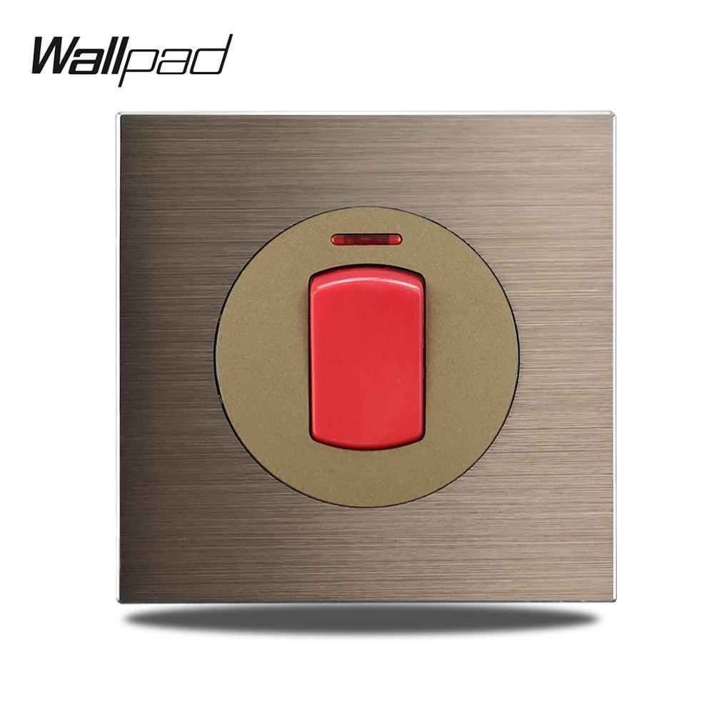 Wallpad L6 плита 45A двойной полюс 2P DP настенный выключатель переменного тока коричневая матовая алюминиевая атласная металлическая панель