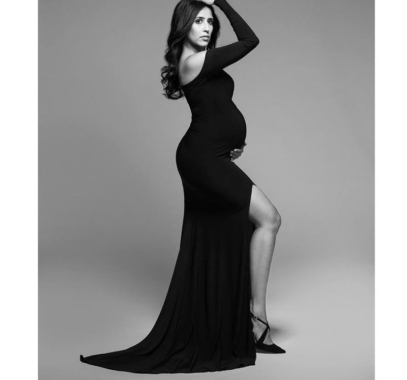 Sexy Off Shoulder Maternity Dresses for Photo Shoot Elegant Split Long Sleeve Baby Shower Photography Dress Pregnancy Clothes enlarge