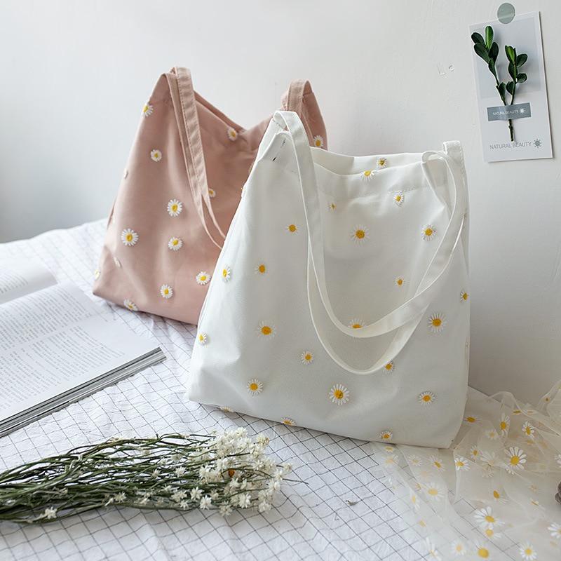 Mini Shoulder Bags for Women's Female Shopper Bag Niche Designers Handbag Cute Embroidery Bag with Daisies Small Canvas Tote Bag