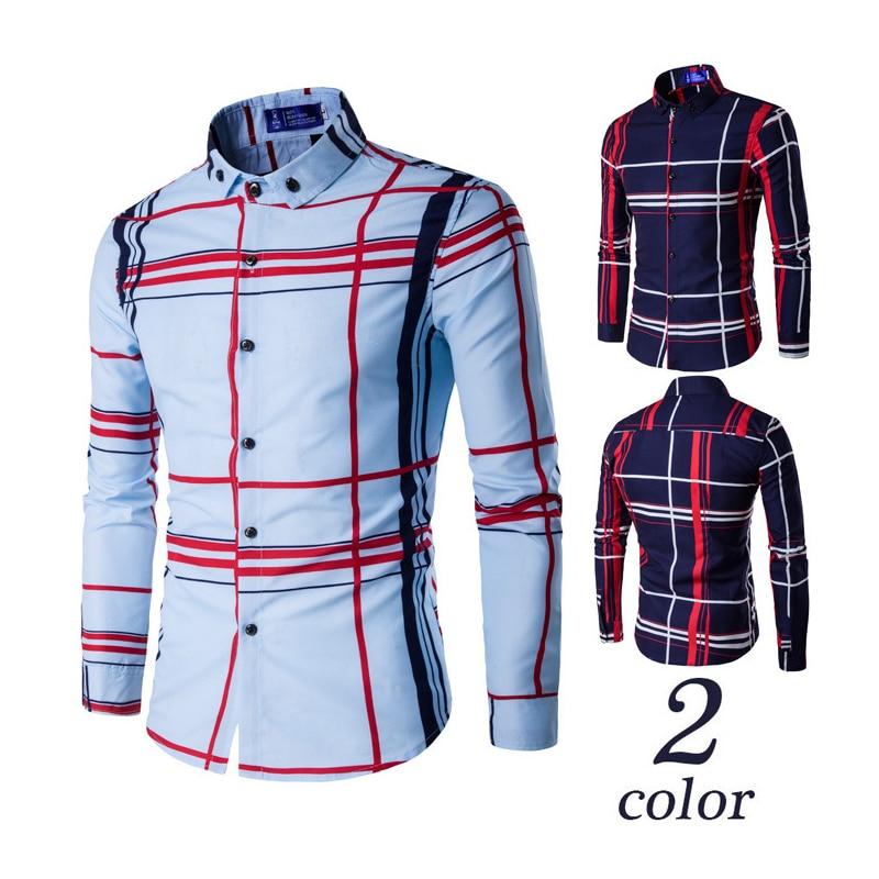 VISADA JAUNA Мужская рубашка, брендовая одежда, мужская рубашка с длинным рукавом, лето 2020, клетчатая приталенная рубашка, размера плюс, Повседнев...