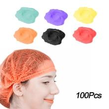 100pcs Disposable Non-woven Pleated Anti Dust Hair Shower Cap Women Men Bath Caps Makeup Hat Spa Hai