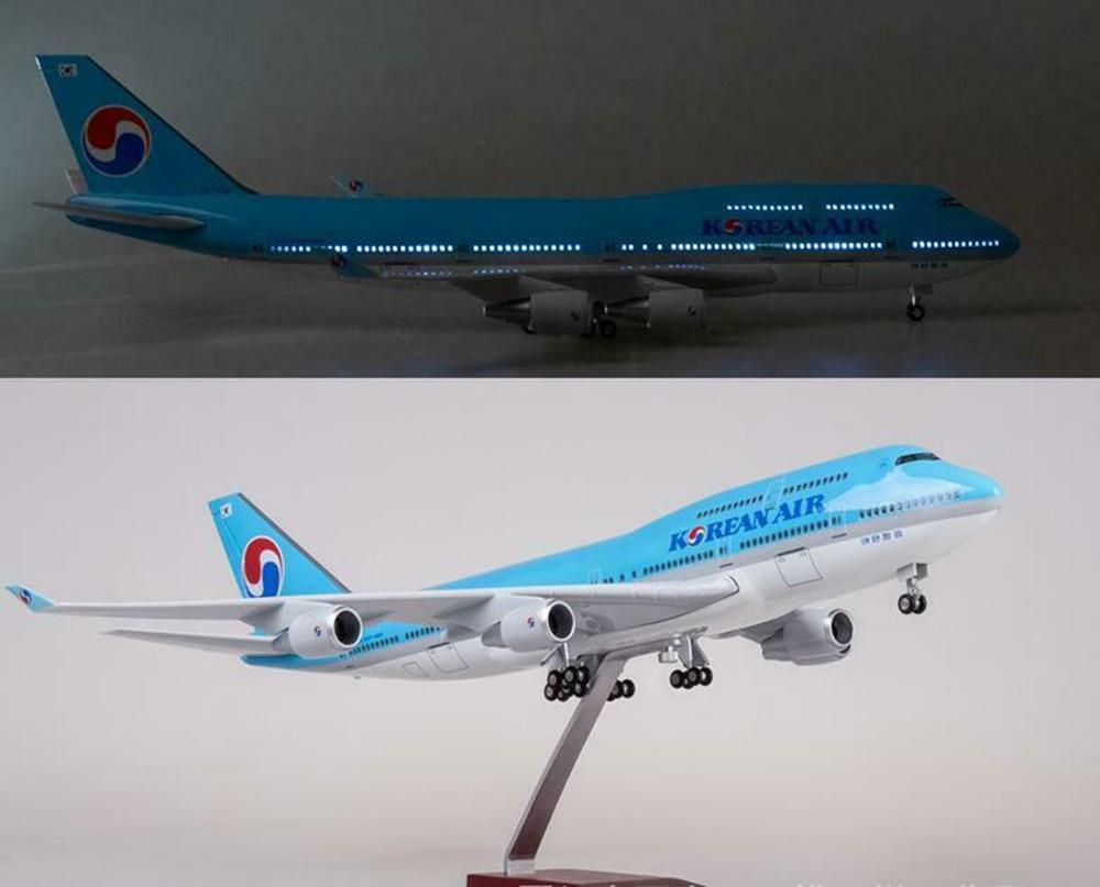 47CM New stock 1/157 KOREAN AIR PLANE Model LED Light Passanger Plane B747 Resin Airplane Toy Aircraft Model With light enlarge