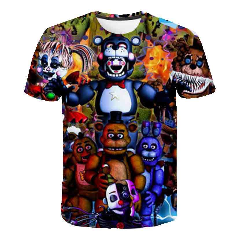 FNAF New Cartoon kids T shirts Five Nights At Freddy's 3D Printed Children T-shirt Summer Short Sleeve T shirt Boys/girl Tops