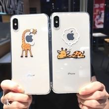 Leuke Cartoon Dier Giraffe Clear Telefoon Case Voor Iphone 11 Pro Max X Xs Xr 7 8 Plus 6 6 4s Paar Transparante Zachte Tpu Back Cover