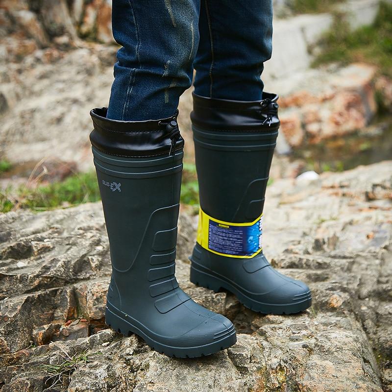 أحذية المطر رجالي أحذية عالية الصيد للماء في الهواء الطلق غير زلة أحذية المطر أزياء خفيفة الوزن الأحذية المطاطية سميكة