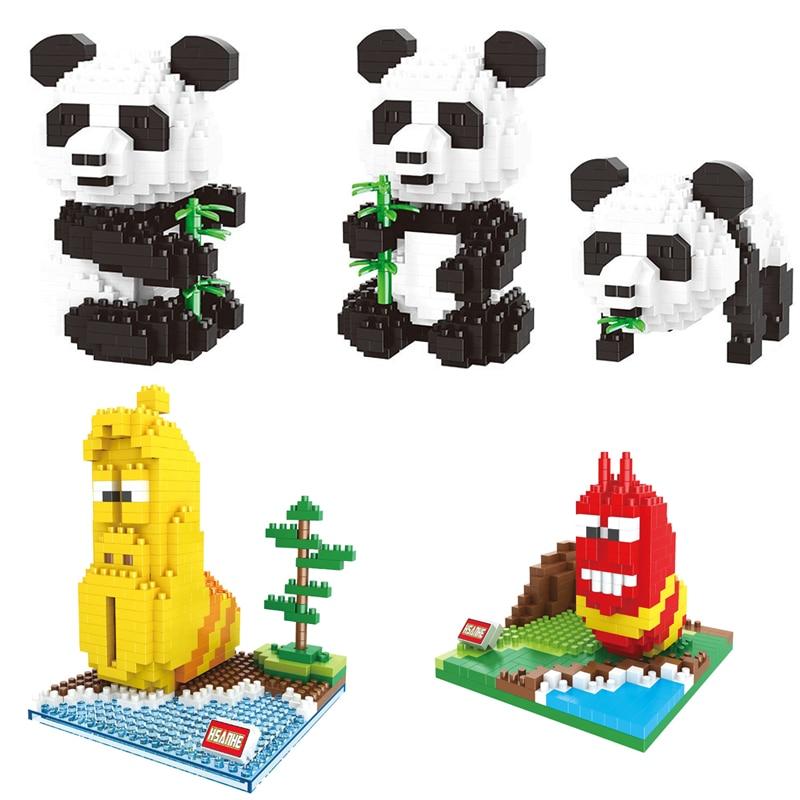 Panda de dibujos animados 3 en 1, Animal de bambú, modelo de gusano, DIY, diamante, Micro Mini bloques de construcción, juguete para niños, regalos para adultos