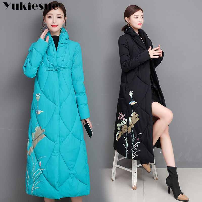 embroidery Plus Size Women Parkas Winter Hooded Warm Coat Slim Cotton Padded Basic Jacket Female Cas