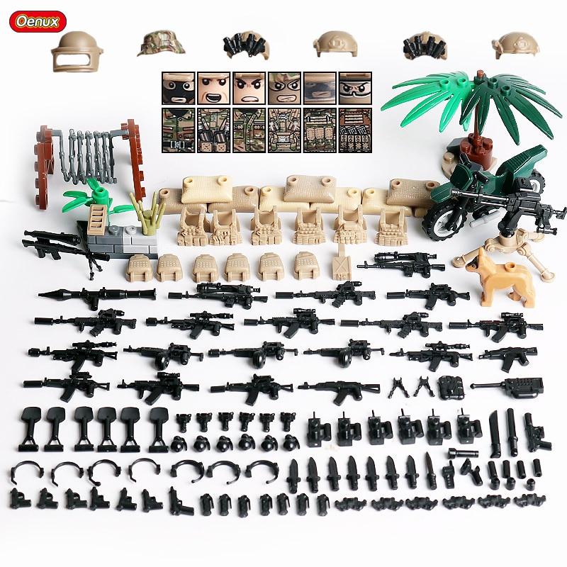 Oenux 2020 Mini figuras de la fuerza alfa rusa pequeño bloque de construcción militar soldados del ejército ruso bloque de ladrillo MOC juguete niños regalo