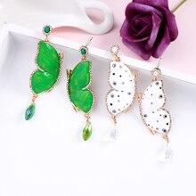 Kissme exquise blanc et vert émail verre cristal papillon boucles doreilles pour femmes cadeaux couleur or bijoux de mode en gros