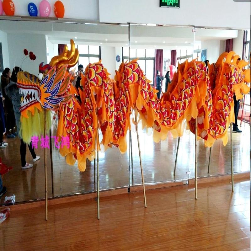 7m Length Dragon Dance Costume Silk 6 Players Children Student School  Art Halloween Party Performance Parade Folk Stage