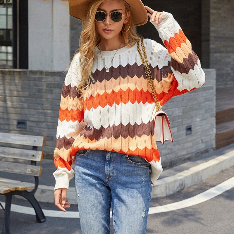 Fashion Women Sweater New Autumn Casual Hot Sale Round Neck Pullover Wavy Stripes Contrast Color Loose Knit Sweater