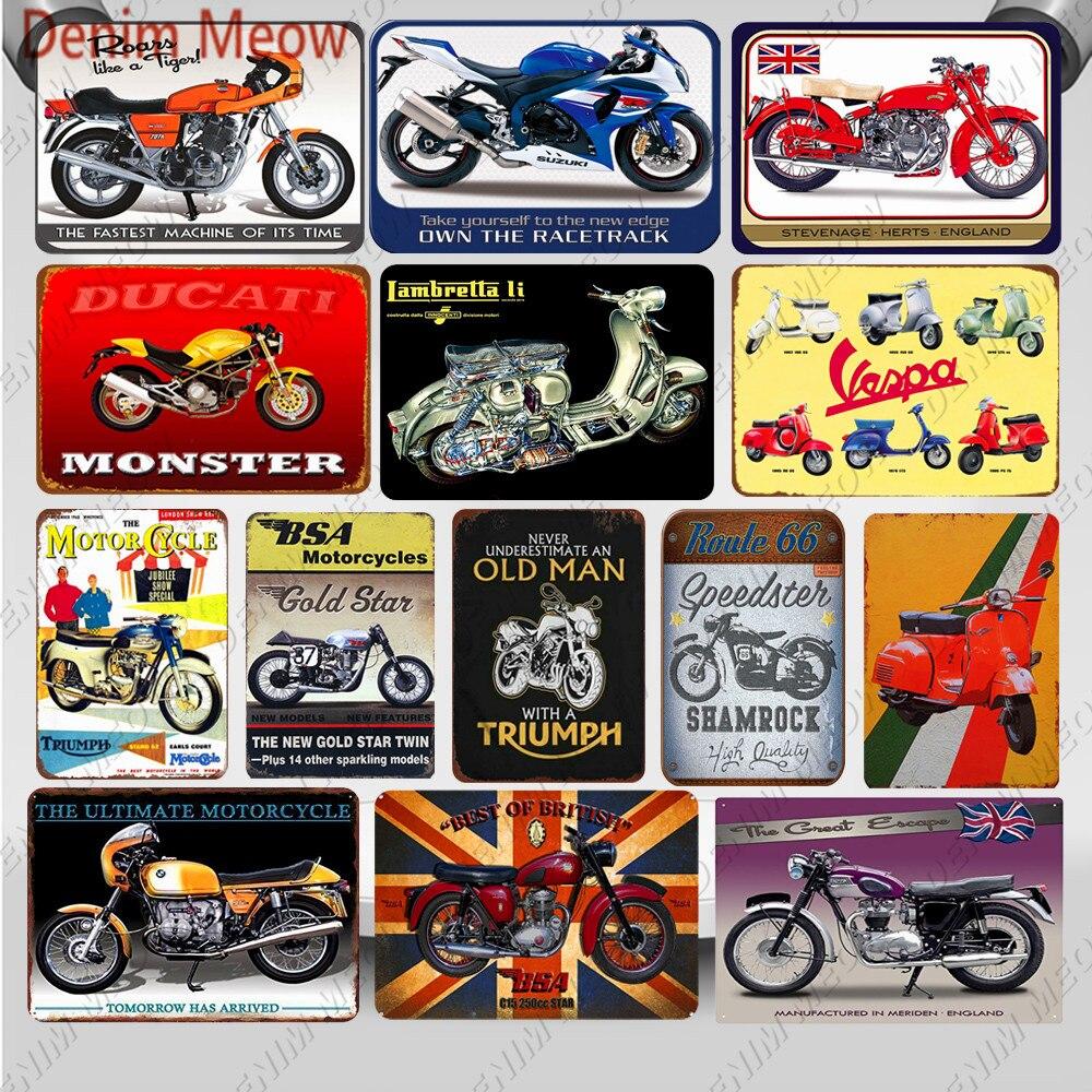 Vintage motos Metal estaño signo Triumph Motor pared arte cartel Vespa pintura planchas de hierro Pub garaje Club Casa decoración WY17