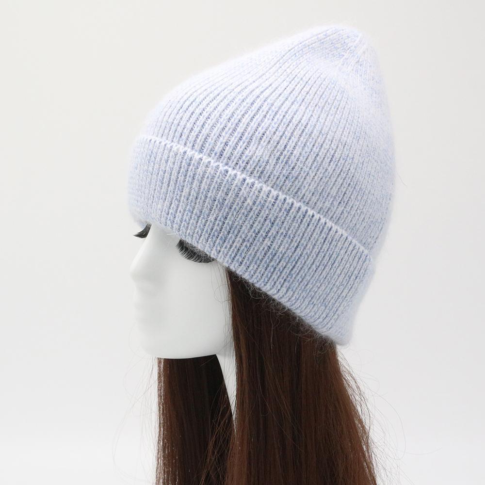 Chapéu de inverno malha quente beanies grosso bicolor unisex angora chapéu adulto outono casual gorro chapéus