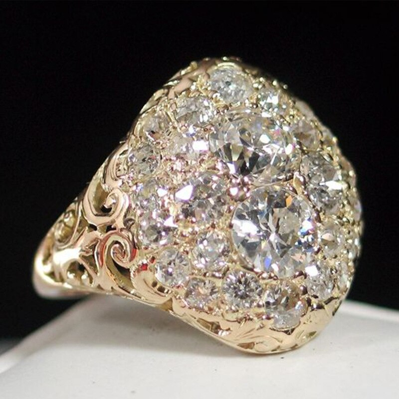 Anillo semiesférico de lujo con diamantes de imitación de Rosa ostentosa de Color dorado para mujer, anillos de compromiso de boda, joyería, envío gratis