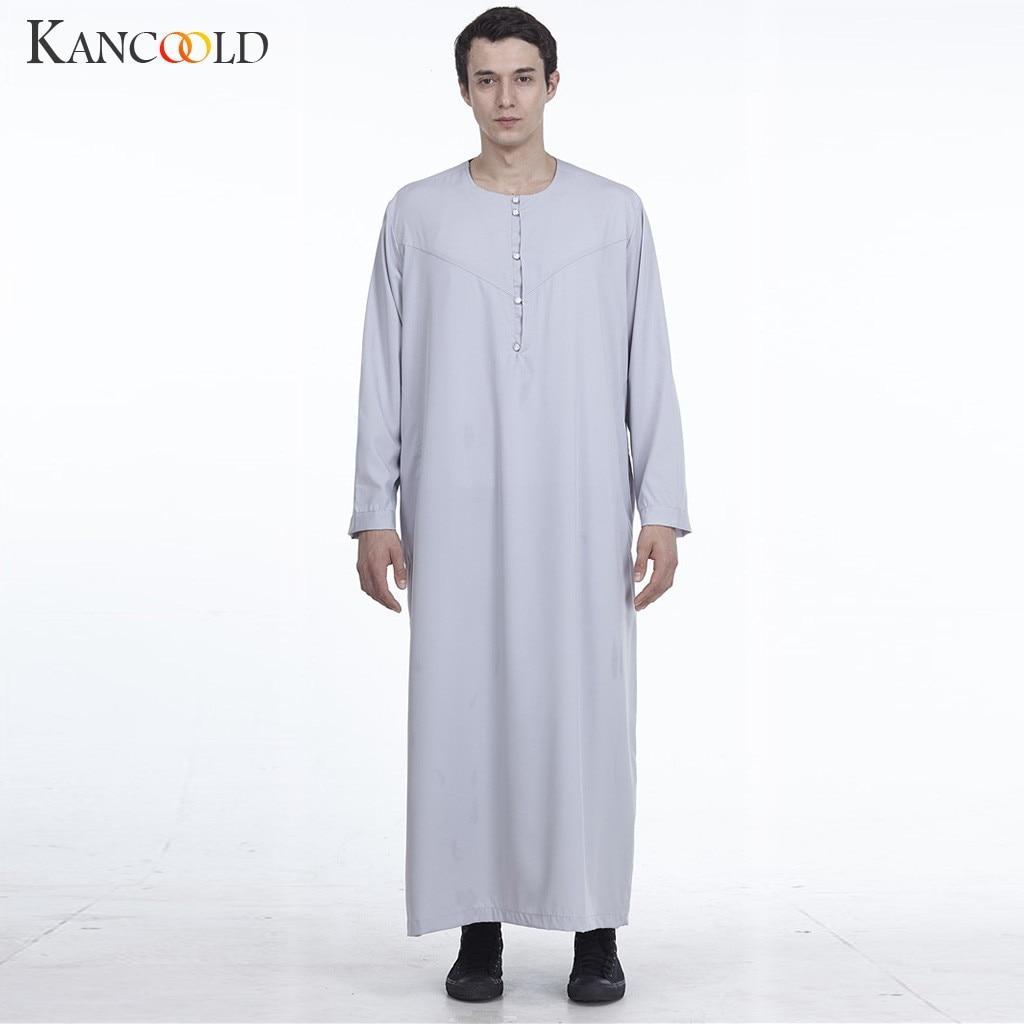 KANCOOLD 2019 hombres de largo musulmán de manga túnica islámica árabe Cap Color sólido Medio Oriente Arabia Saudita hombres vestido largo